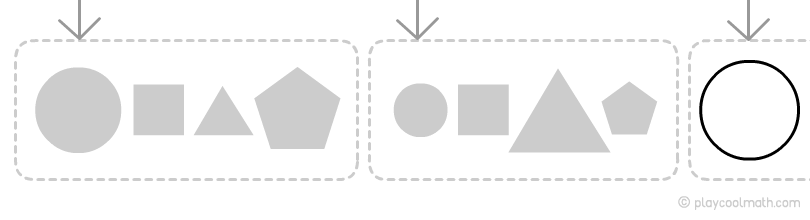 A complex pattern in the example with shapes. Pattern by form